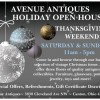 Avenue Antiques Holiday Open House THANKSGIVING WEEKEND 2015